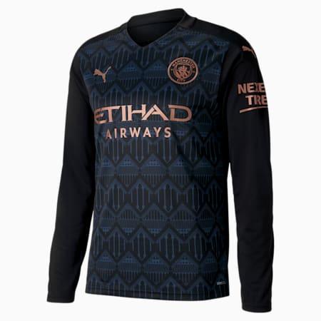 Męska replika koszulki wyjazdowej z długim rękawem Man City, Puma Black-Dark Denim, small