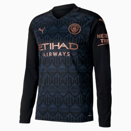 Man City Away Replica Long Sleeve Men's Jersey, Puma Black-Dark Denim, small