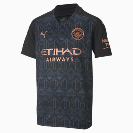 Manchester City FC Kids' Away Replica Jersey, Puma Black-Dark Denim, small