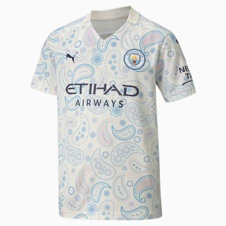 Maillot Troisième tenue Manchester City Replica enfant et adolescent, Whisper White-Peacoat, small