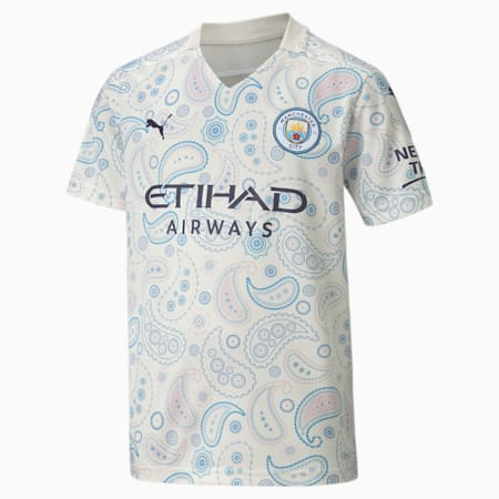 Manchester City FC Kids' Third Replica Jersey, Whisper White-Peacoat, small