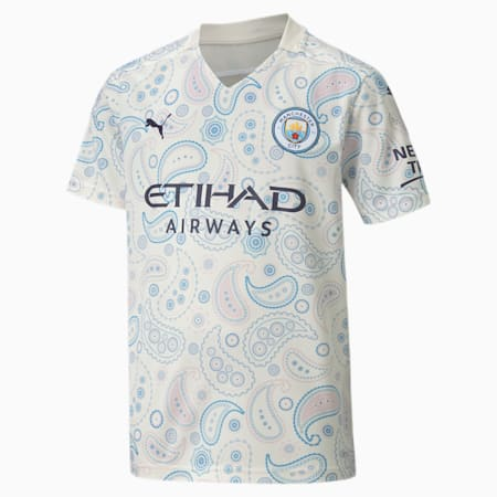 Manchester City FC Kids' Third Replica Jersey JR, Whisper White-Peacoat, small