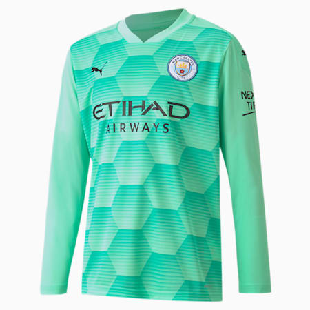 Man City Replica Long Sleeve Youth Goalkeeper Jersey, Green Glimmer, small