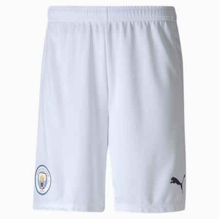 Man City Replica Men's Football Shorts, Puma White-Peacoat, small