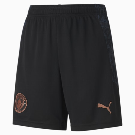 Man City Replica Youth Football Shorts, Puma Black-Dark Denim, small