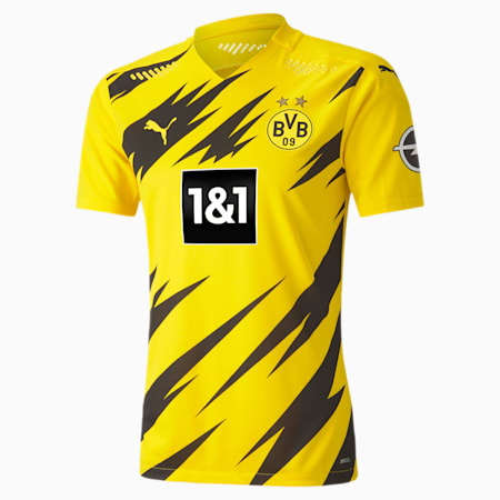BVB Home Authentic Short Sleeve Men's Jersey, Cyber Yellow-Puma Black, small