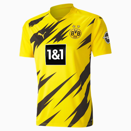 BVB Home Replica Short Sleeve Men's Jersey, Cyber Yellow-Puma Black, small