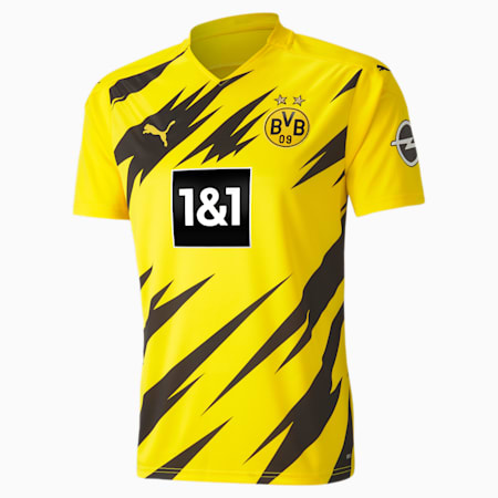 BVB 홈 레플리카 반팔 티셔츠/BVB HOME Shirt Replica SS, Cyber Yellow-Puma Black, small-KOR