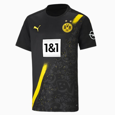 BVB Away Replica Short Sleeve Youth Jersey, Puma Black, small