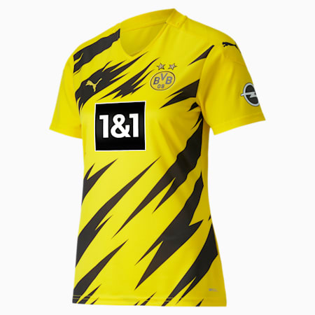 BVB Home Replica Short Sleeve Women's Jersey, Cyber Yellow-Puma Black, small