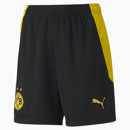 BVB Replica Youth Football Shorts, Puma Black-Cyber Yellow, small