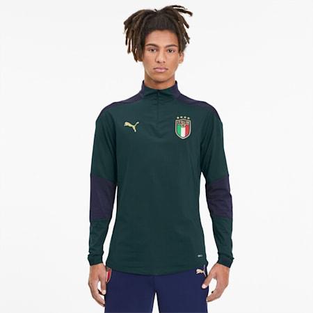 Camiseta de entrenamiento de la FIGC con cierre 1/4 para hombre, Ponderosa Pine-Peacoat, pequeño