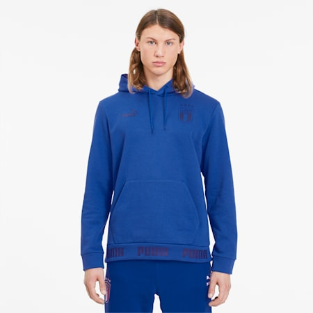FIGC FtblCulture Men's Hoodie, Team Power Blue-Peacoat, small