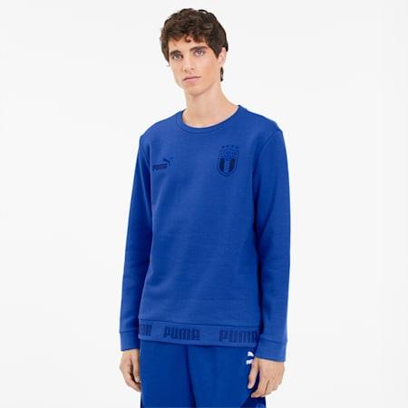 FIGC FtblCulture Men's Crewneck Sweatshirt, Team Power Blue-Peacoat, small