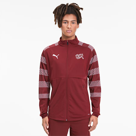 Suisse Men's Stadium Jacket, Pomegranate, small
