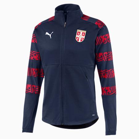 Serbia Men's Stadium Jacket, Peacoat-Chili Pepper, small