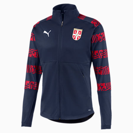 Serbia Men's Stadium Jacket, Peacoat-Chili Pepper, small-GBR