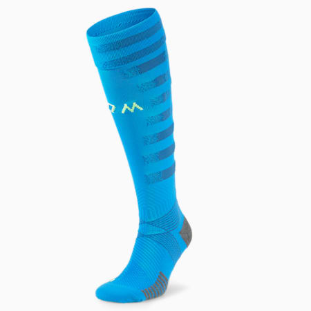Olympique de Marseille Replica Men's Football Socks, Bleu Azur-VBlue-Fiz Yellow, small