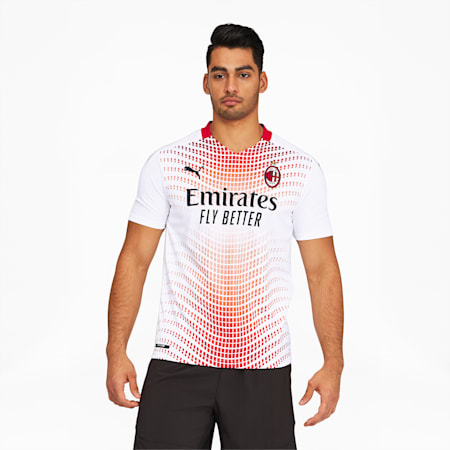 AC Milan Men's Away Replica Jersey, Puma White-Tango Red, small
