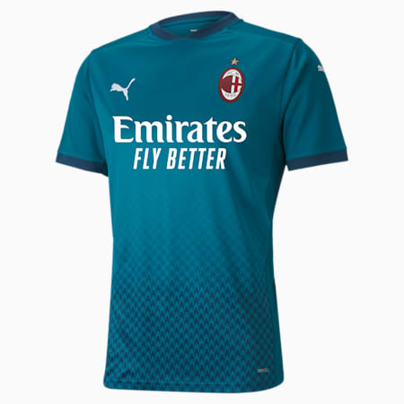 Camiseta para hombre réplica de la 3.ª equipación del AC Milan, Deep Lagoon-Gibraltar Sea, small
