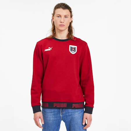 Austria FtblCulture Men's Sweater, Chili Pepper-Puma White, small