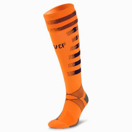 Męskie skarpety piłkarskie z nadrukiem Valencia CF, Vibrant Orange-Peacoat, small