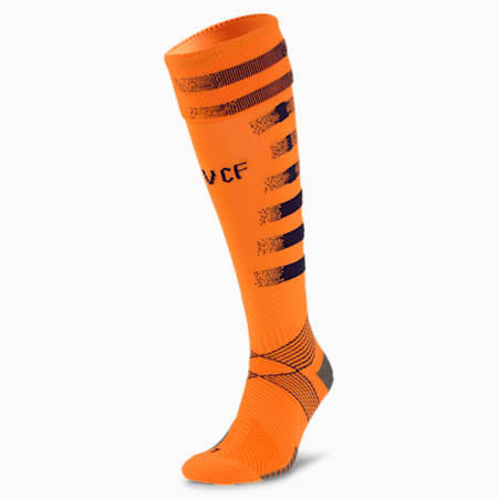 Valencia CF Graphic Men's Football Socks, Vibrant Orange-Peacoat, small