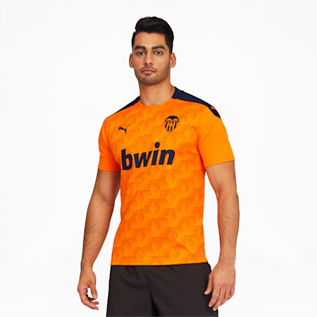 Valencia CF Men's Away Replica Jersey, Vibrant Orange-Peacoat, small