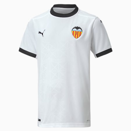 Valencia CF Home Replica Youth Jersey, Puma White-Puma Black, small