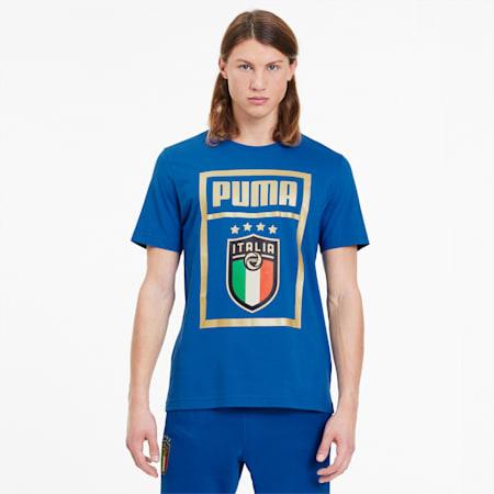 FIGC イタリア PUMA DNA Tシャツ 半袖, Team Power Blue-Team gold, small-JPN
