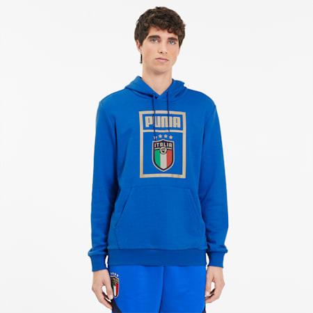 FIGC PUMA DNA Men's Hoodie, Team Power Blue-Team Gold, small