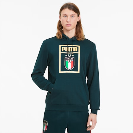 FIGC PUMA DNA Men's Hoodie, Ponderosa Pine-Team Gold, small