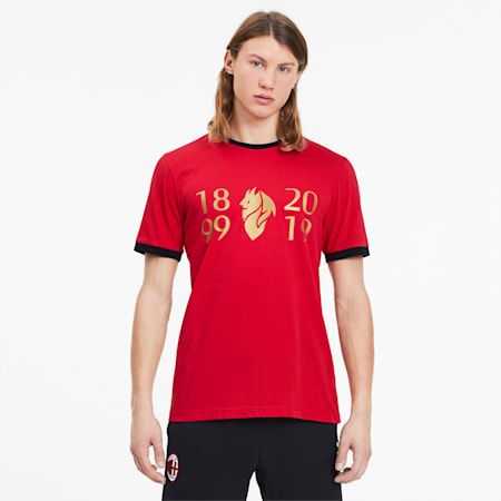 AC Milan 120th Anniversary Men's Tee, Tango Red -Victory Gold, small