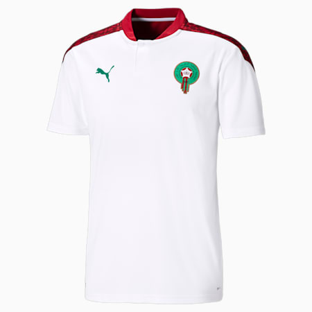 Męska replika koszulki wyjazdowej reprezentacji Maroka, Puma White-Pepper Green, small