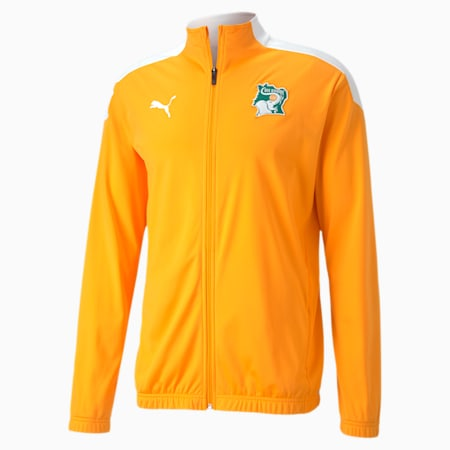 Ivory Coast Men's Stadium Jacket, Puma White-Flame Orange, small