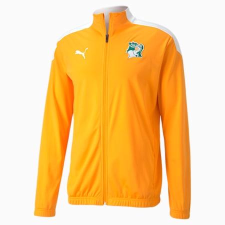 Ivory Coast Stadium Men's Football Jacket, Puma White-Flame Orange, small-GBR