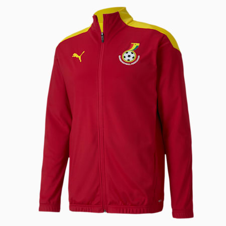 Ghana Men's Stadium Jacket, Chili Pepper-Dandelion, small