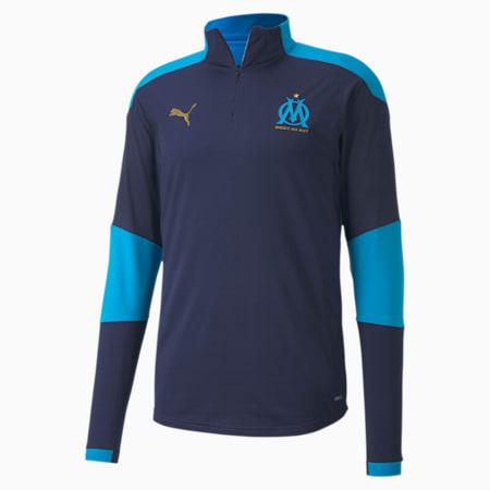 Olympique de Marseille Quarter-Zip Men's Training Top, Peacoat-Bleu Azur, small