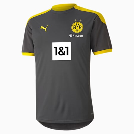 BVB Men's Training Jersey, Asphalt-Cyber Yellow, small