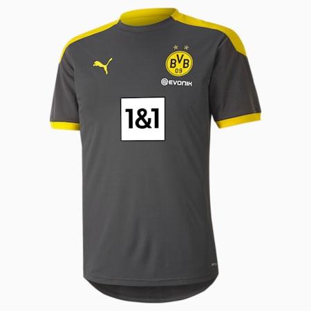 Męska koszulka sportowa BVB, Asphalt-Cyber Yellow, small