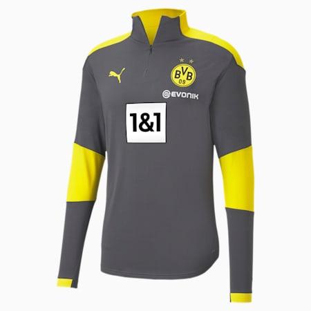BVB Quarter-Zip trainingstop voor heren, Asphalt-Cyber Yellow, small