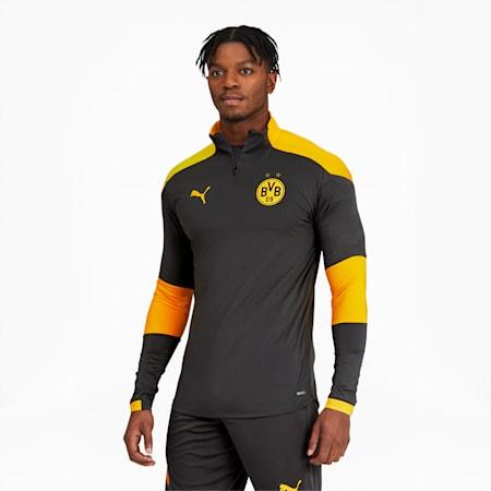 BVB Men's Quarter Zip Top, Asphalt-Cyber Yellow, small