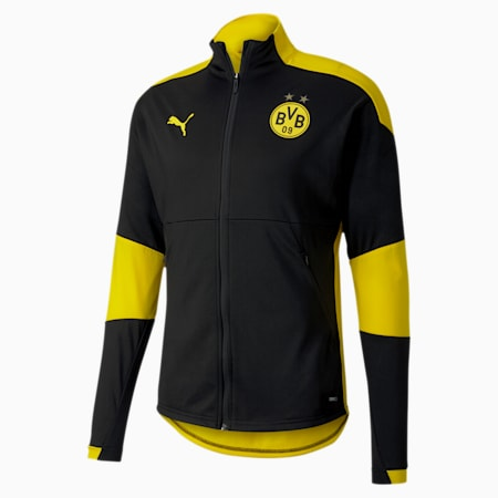 BVB Men's Training Jacket, Puma Black-Cyber Yellow, small-IND