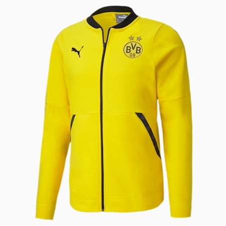BVB Casuals Football Jacket, Cyber Yellow-Puma Black, small-IND