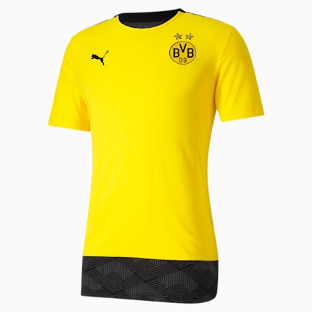 T-Shirt BVB Casuals Football, Cyber Yellow-Puma Black, small