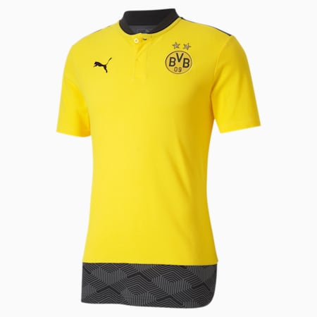 BVB Casuals Football Polo Shirt, Cyber Yellow-Puma Black, small-IND