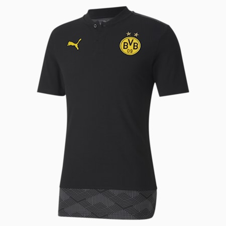 BVB Casuals Football Polo Shirt, Puma Black-Cyber Yellow, small-IND