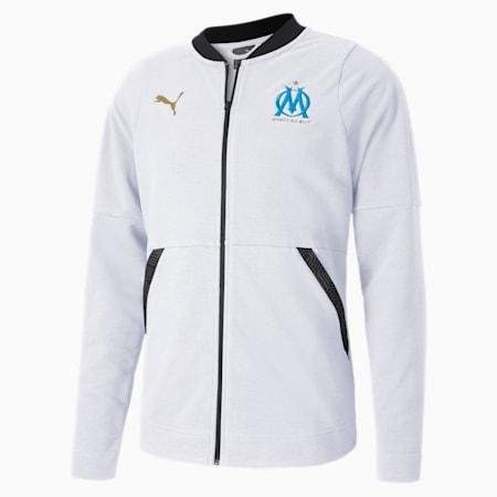Kurtka piłkarska Casuals Olympique de Marseille, Puma White-Bleu Azur, small