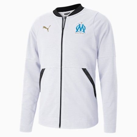 Olympique de Marseille Casuals Football Jacket, Puma White-Bleu Azur, small