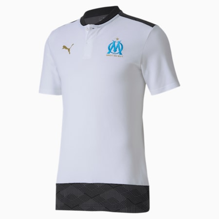 Olympique de Marseille Casuals Football Polo Shirt, Puma White-Bleu Azur, small